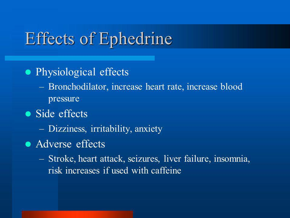 Effects of Ephedrine Physiological effects Side effects