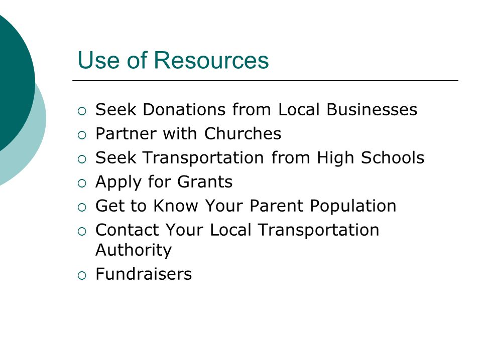 Use of Resources Seek Donations from Local Businesses