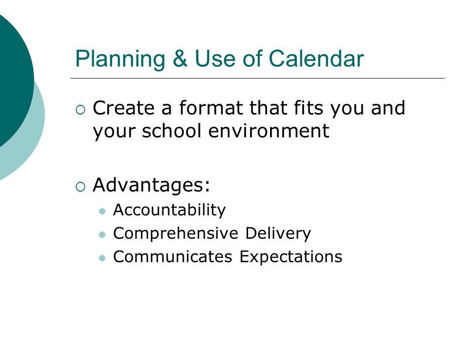 Planning & Use of Calendar