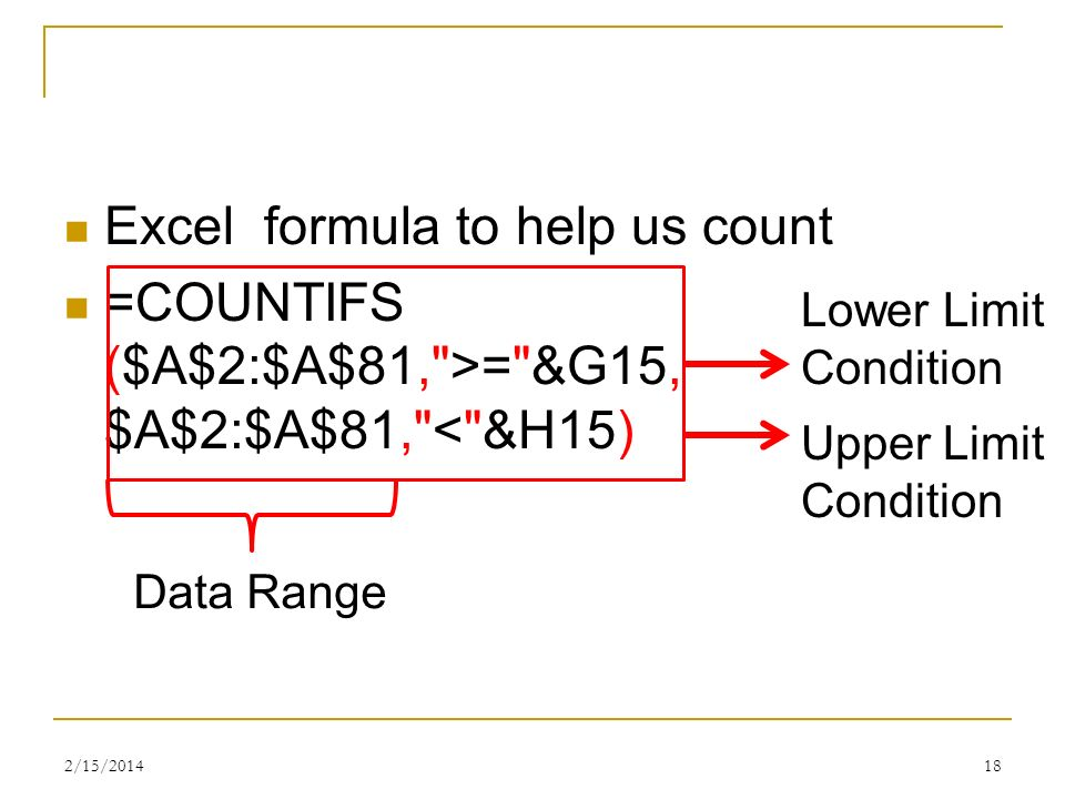 Excel formula to help us count