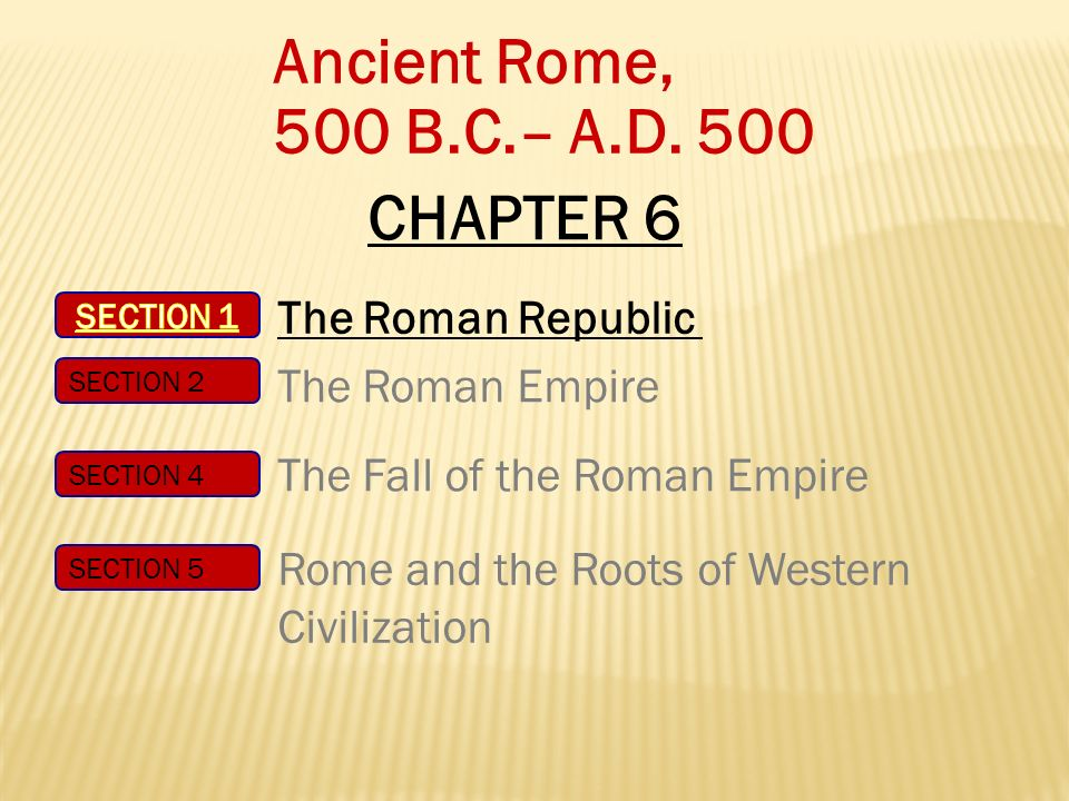 Ancient Rome, 500 B.C.– A.D. 500 CHAPTER 6 The Roman Republic