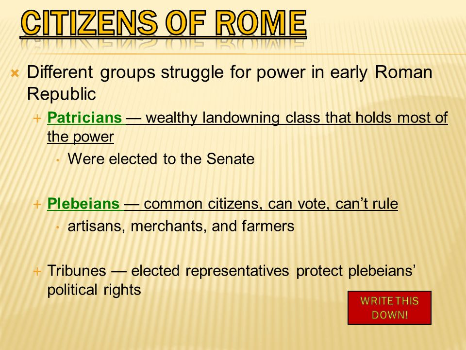 CITIZENS OF ROME Different groups struggle for power in early Roman Republic. Patricians — wealthy landowning class that holds most of the power.