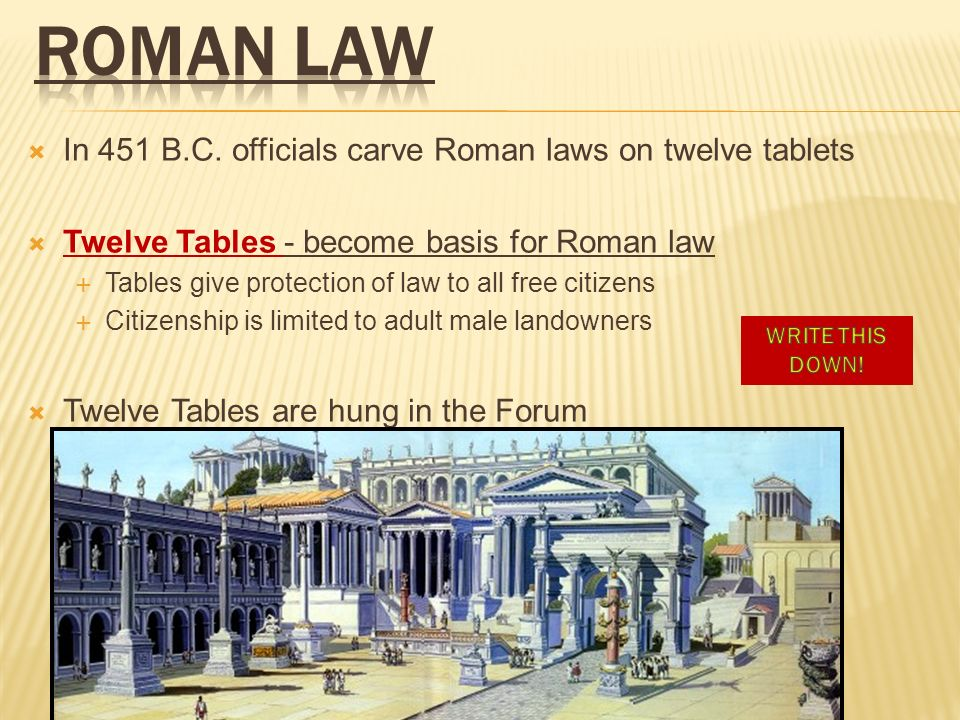 ROMAN LAW In 451 B.C. officials carve Roman laws on twelve tablets