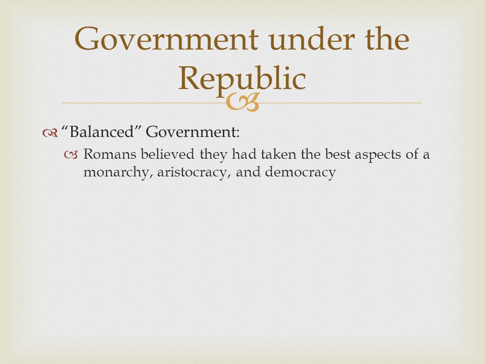 Government under the Republic