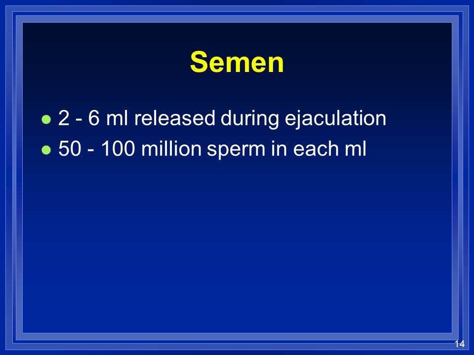 Semen ml released during ejaculation