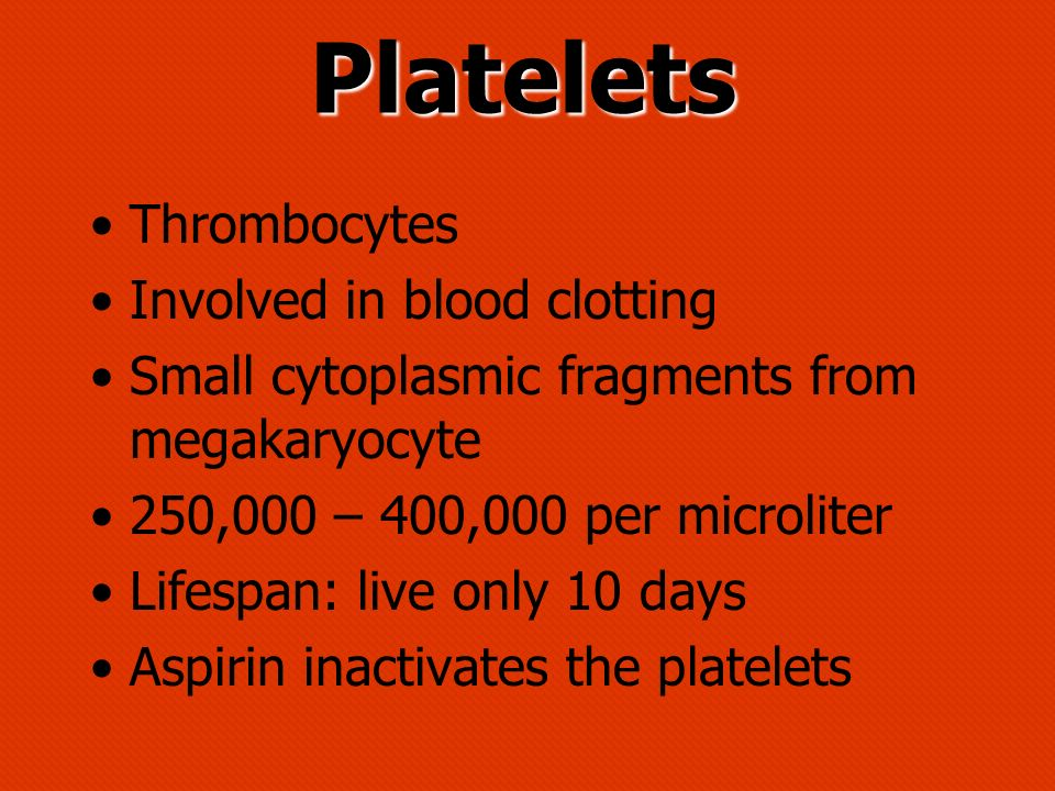 Platelets Thrombocytes Involved in blood clotting