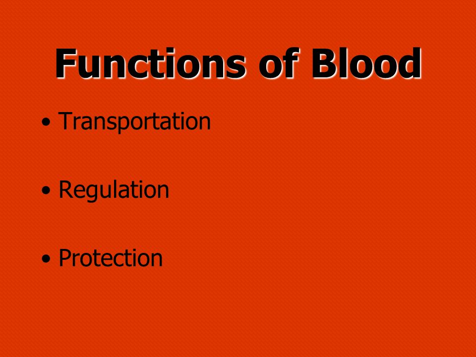 Functions of Blood Transportation Regulation Protection