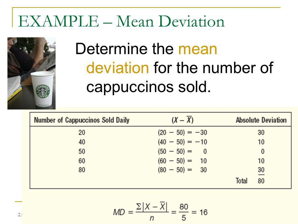 EXAMPLE – Mean Deviation