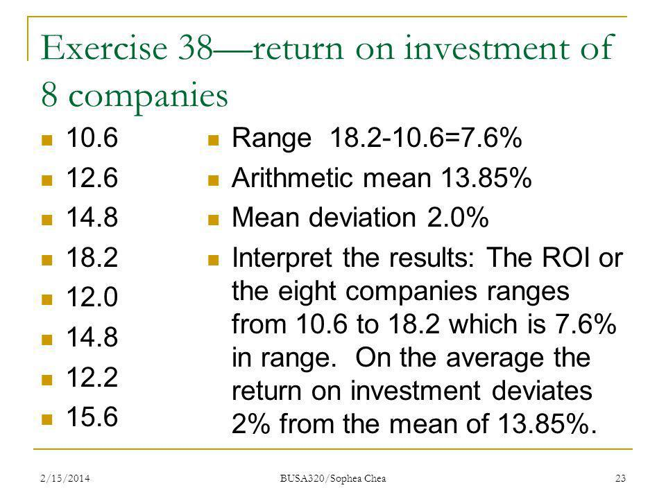 Exercise 38—return on investment of 8 companies