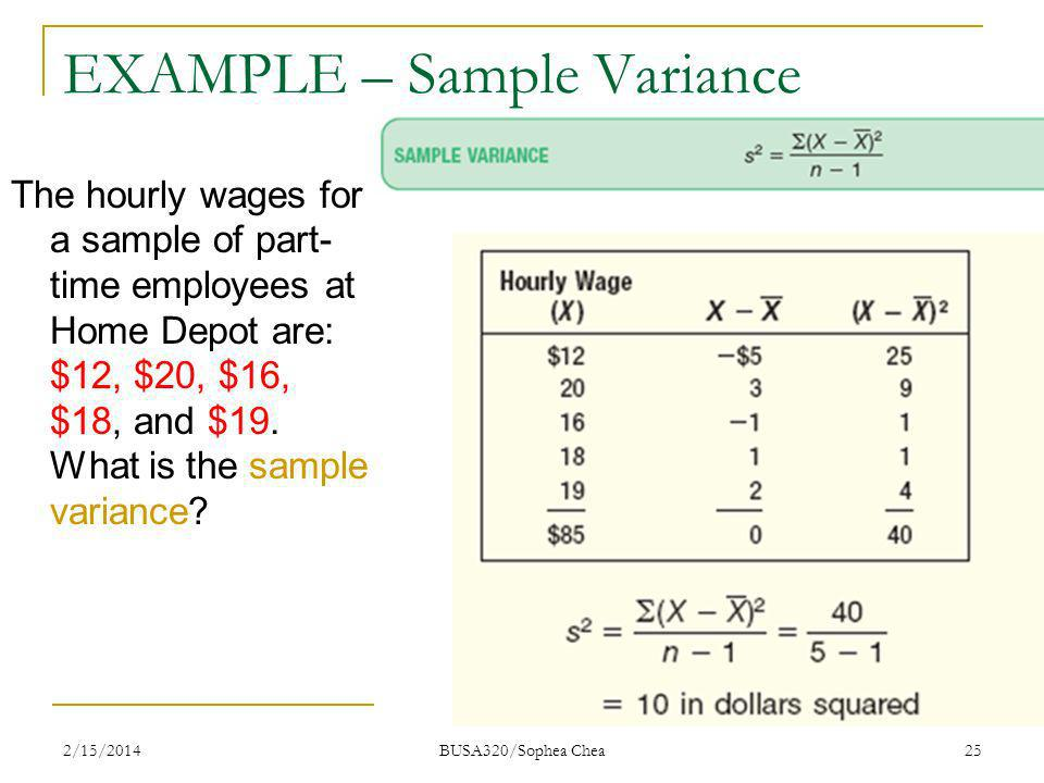 EXAMPLE – Sample Variance