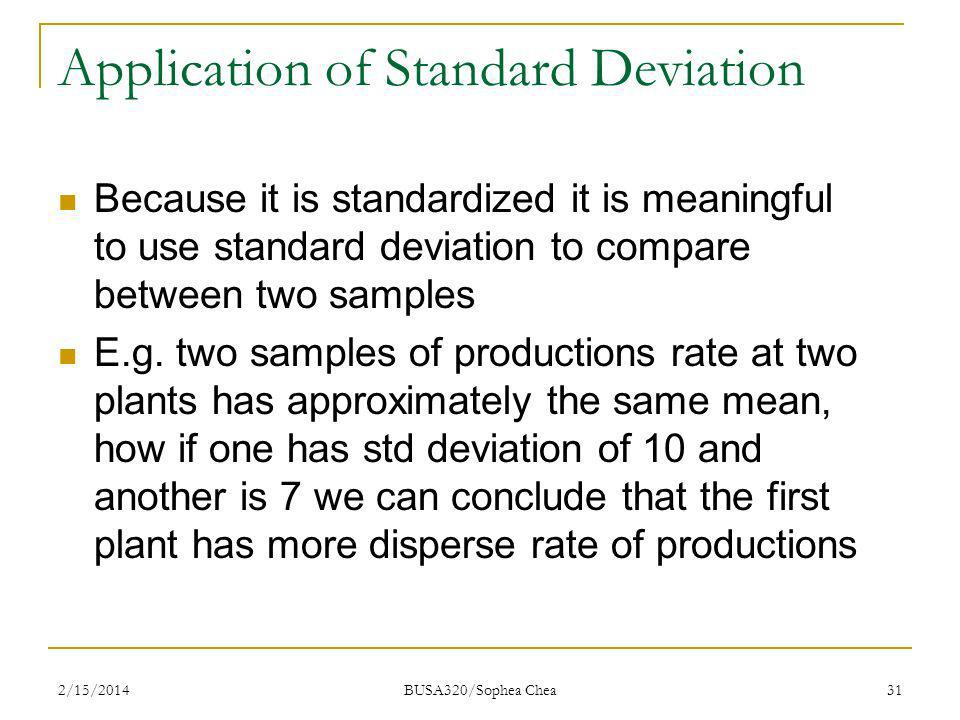 Application of Standard Deviation