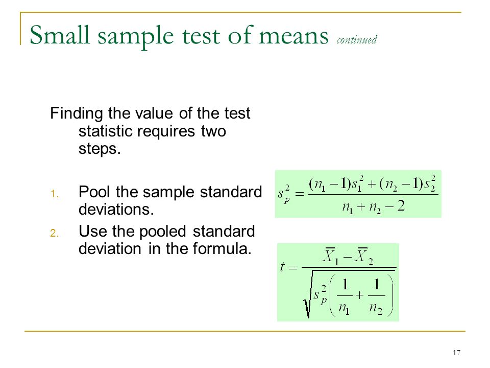 Small sample test of means continued