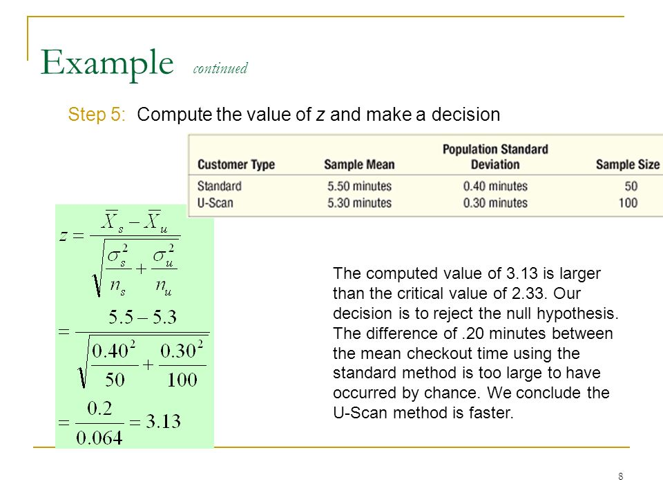 Example continued Step 5: Compute the value of z and make a decision