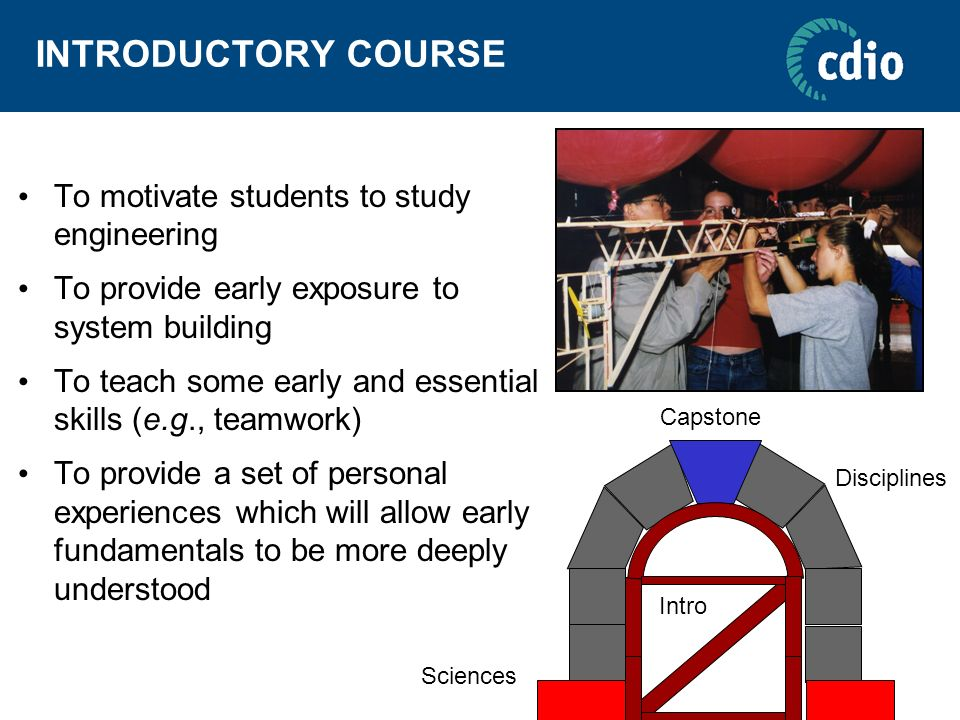 INTRODUCTORY COURSE To motivate students to study engineering