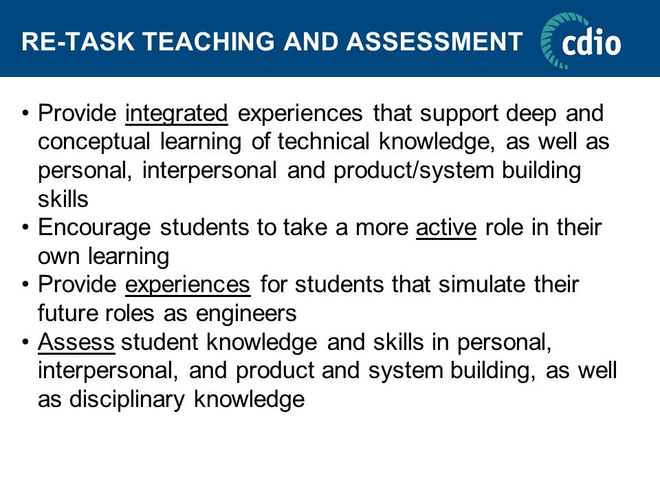 RE-TASK TEACHING AND ASSESSMENT
