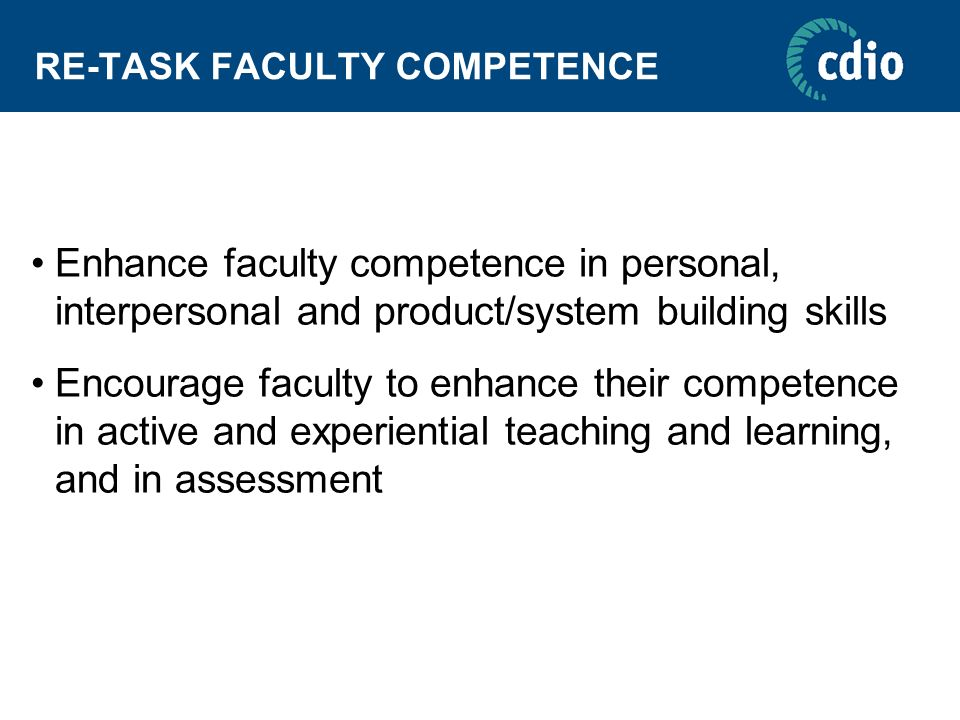 RE-TASK FACULTY COMPETENCE