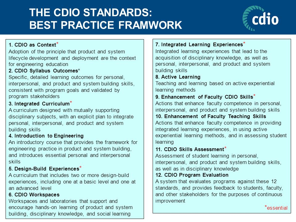 THE CDIO STANDARDS: BEST PRACTICE FRAMWORK