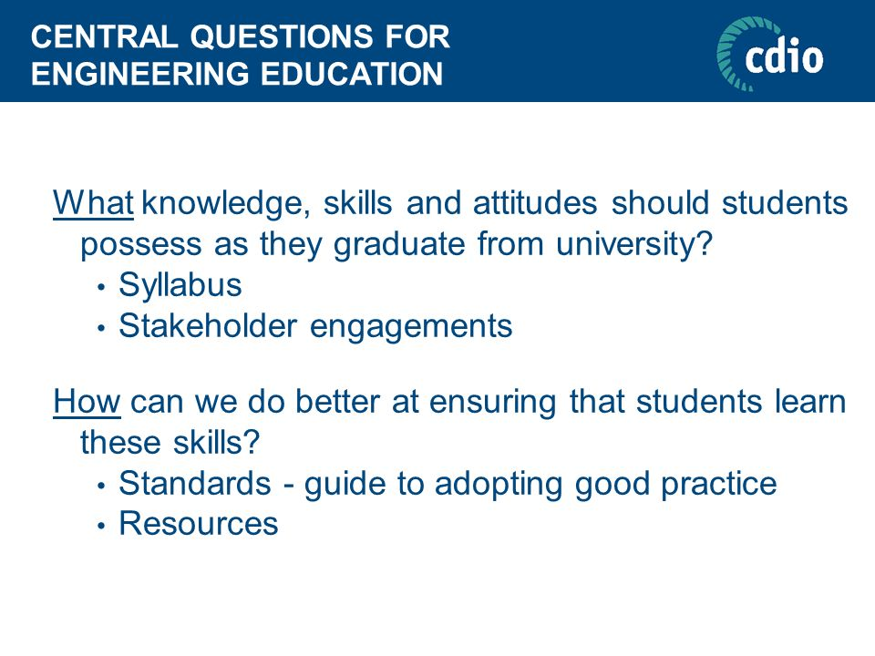 CENTRAL QUESTIONS FOR ENGINEERING EDUCATION