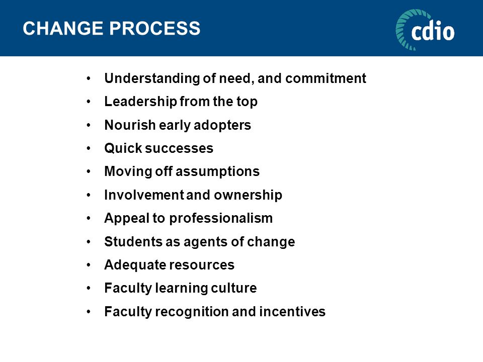 CHANGE PROCESS Understanding of need, and commitment