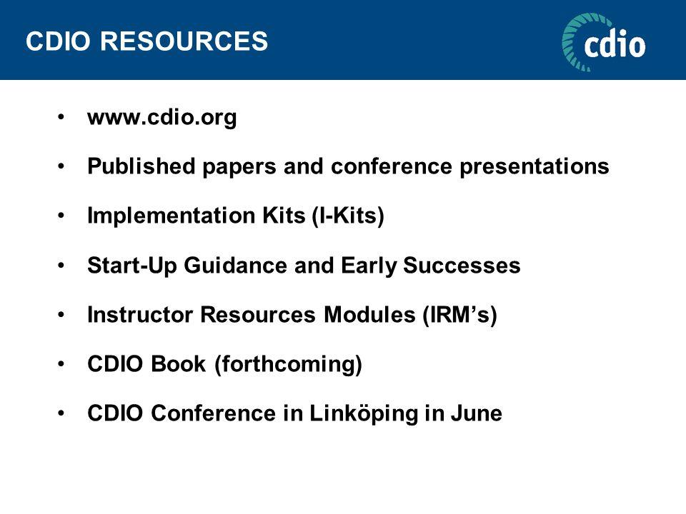 CDIO RESOURCES www.cdio.org