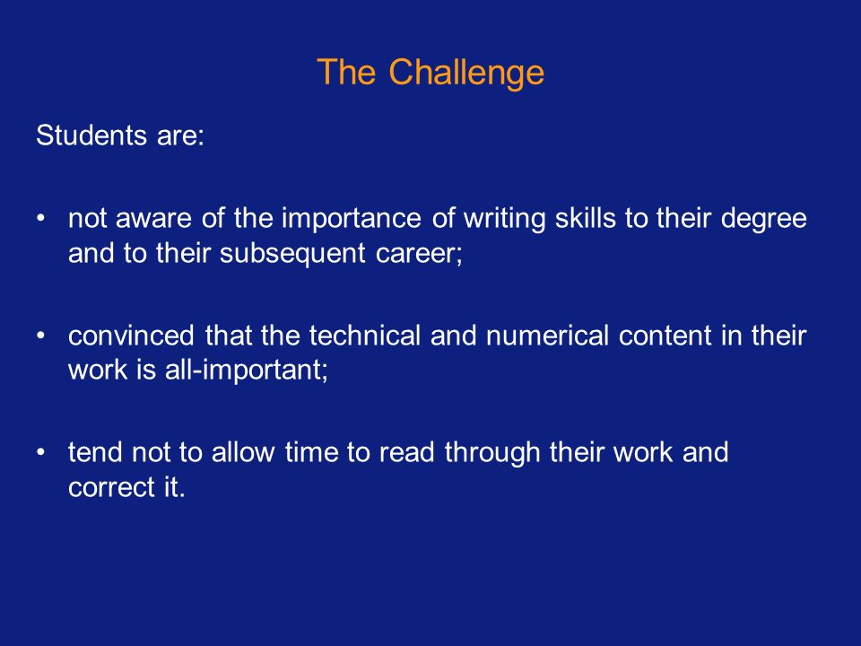 The Challenge Students are:
