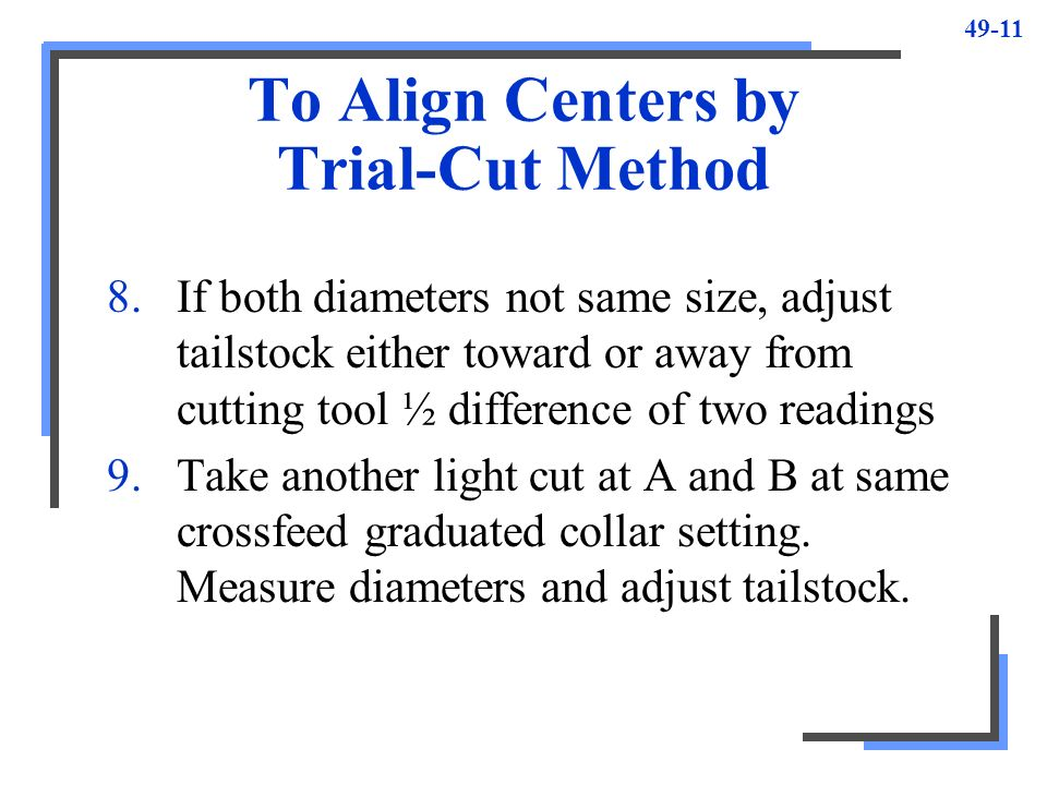 To Align Centers by Trial-Cut Method