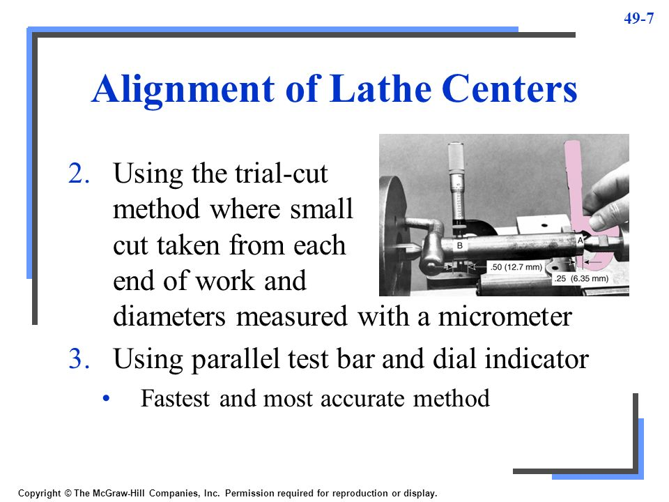 Alignment of Lathe Centers