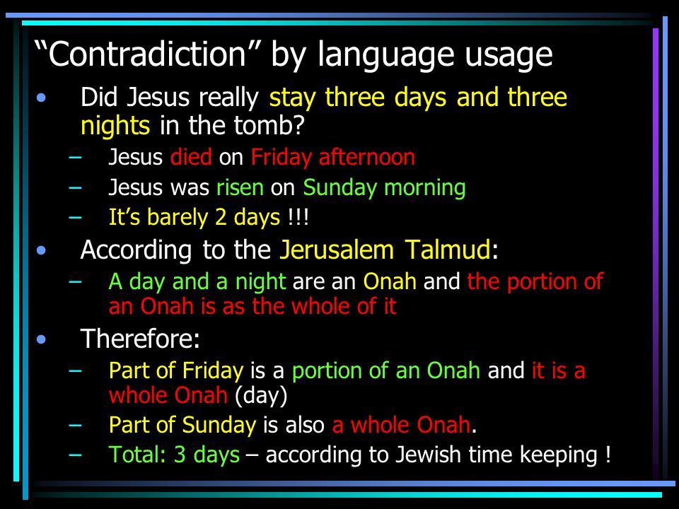 Contradiction by language usage