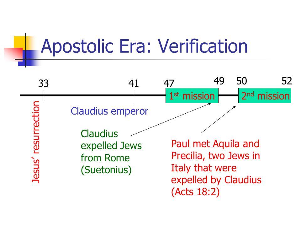 Apostolic Era: Verification