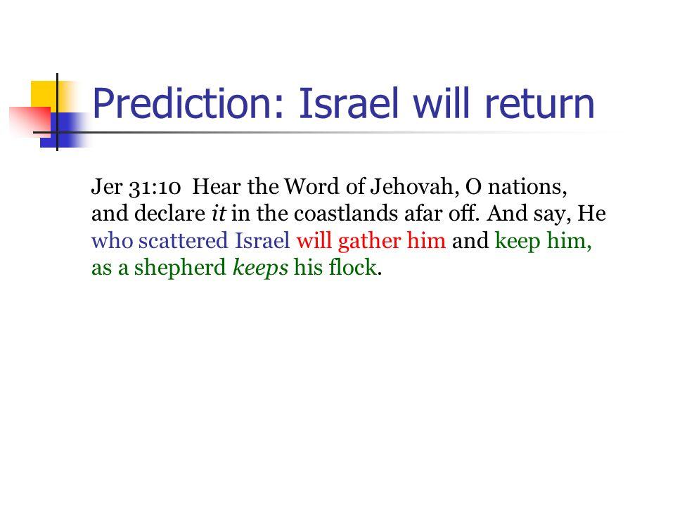Prediction: Israel will return