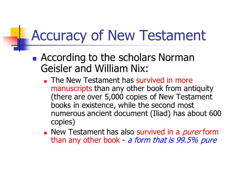 Accuracy of New Testament