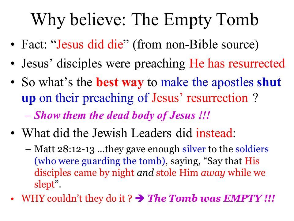 Why believe: The Empty Tomb