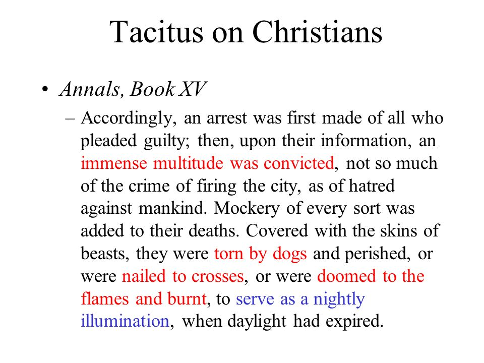 Tacitus on Christians Annals, Book XV