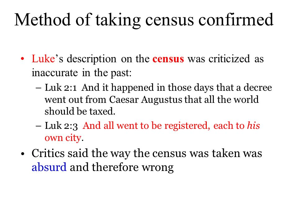 Method of taking census confirmed
