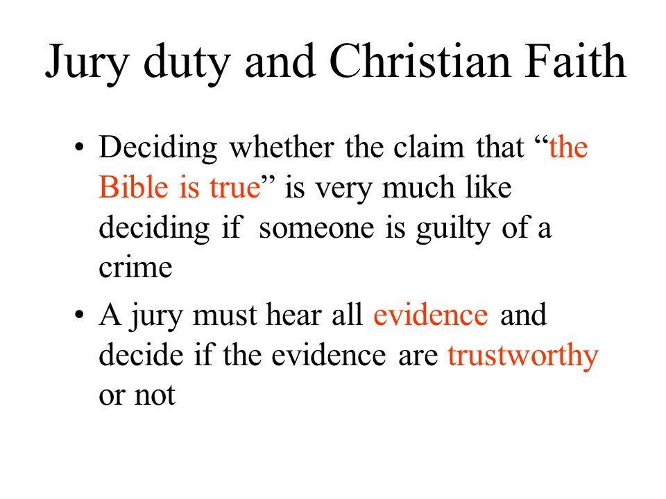 Jury duty and Christian Faith
