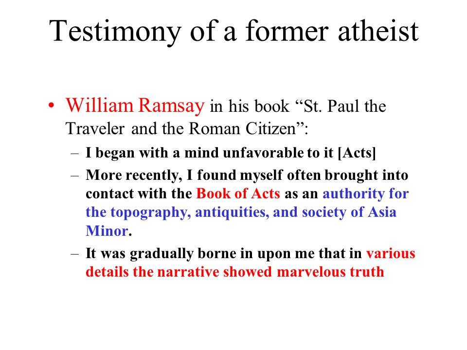 Testimony of a former atheist