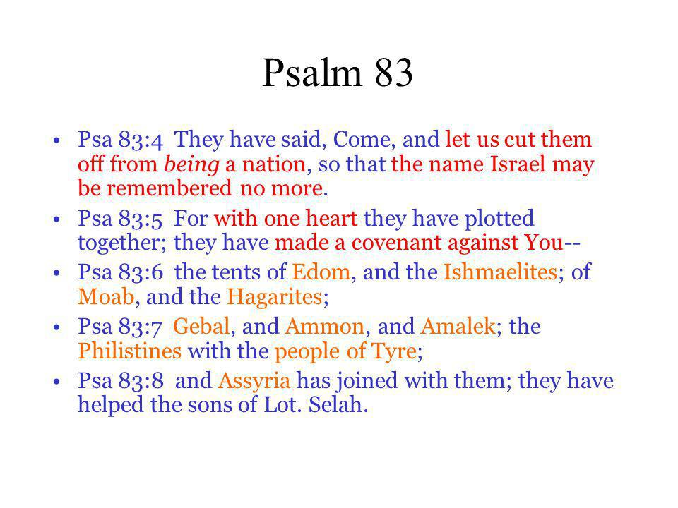 Psalm 83 Psa 83:4 They have said, Come, and let us cut them off from being a nation, so that the name Israel may be remembered no more.