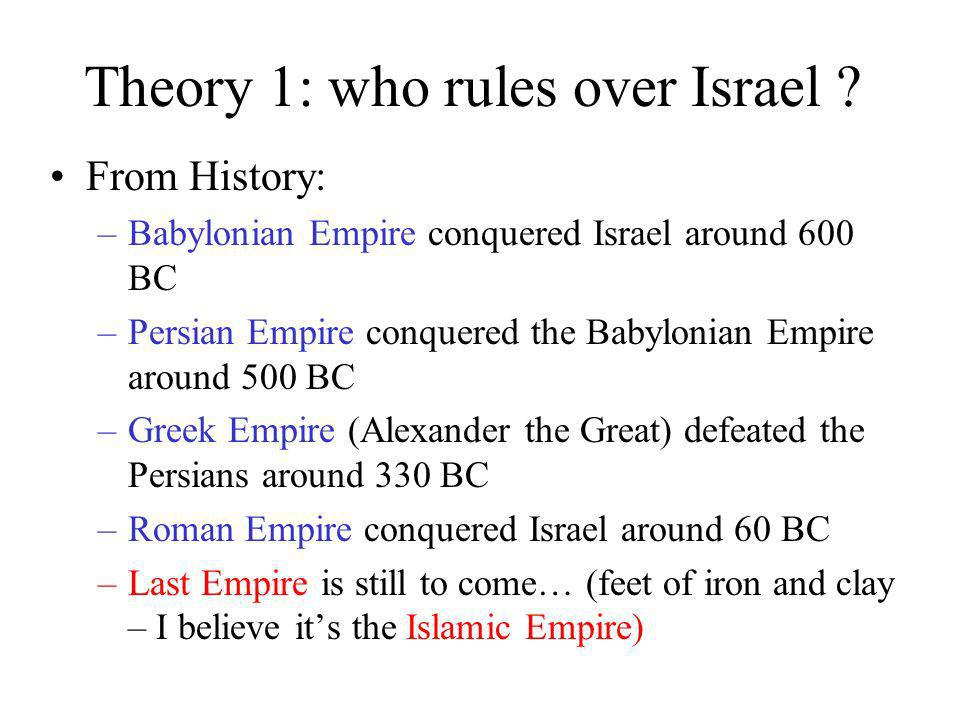 Theory 1: who rules over Israel