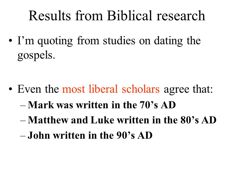 Results from Biblical research