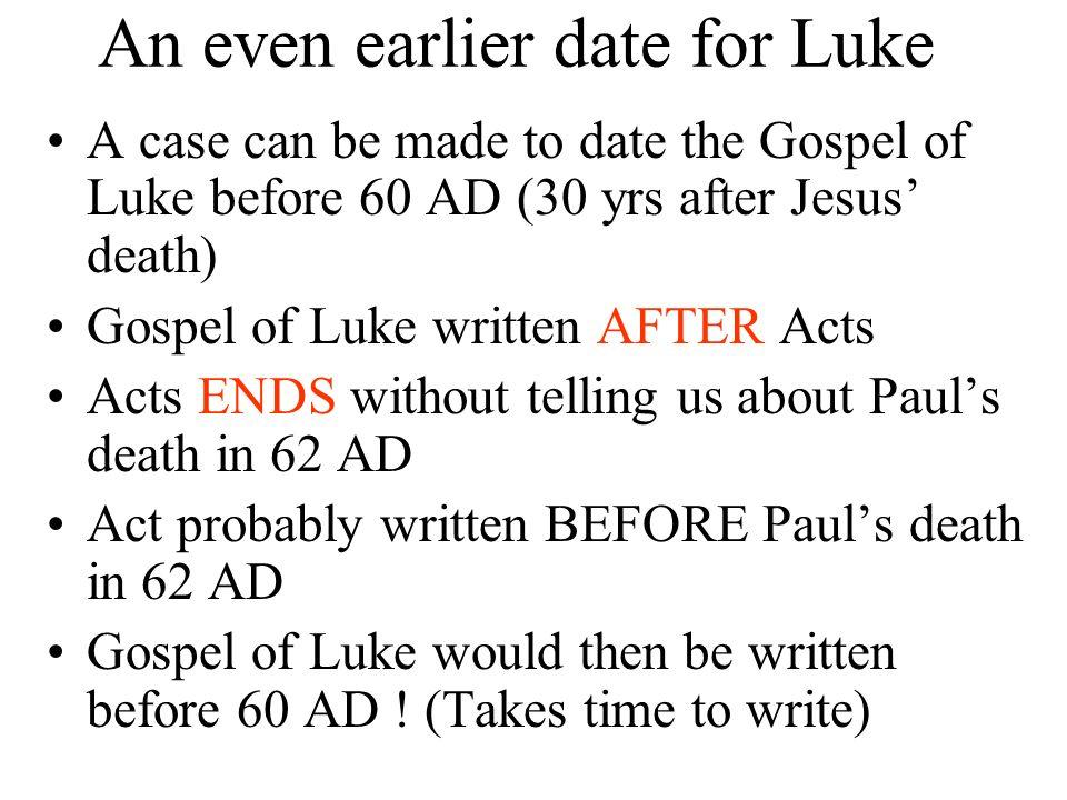 An even earlier date for Luke