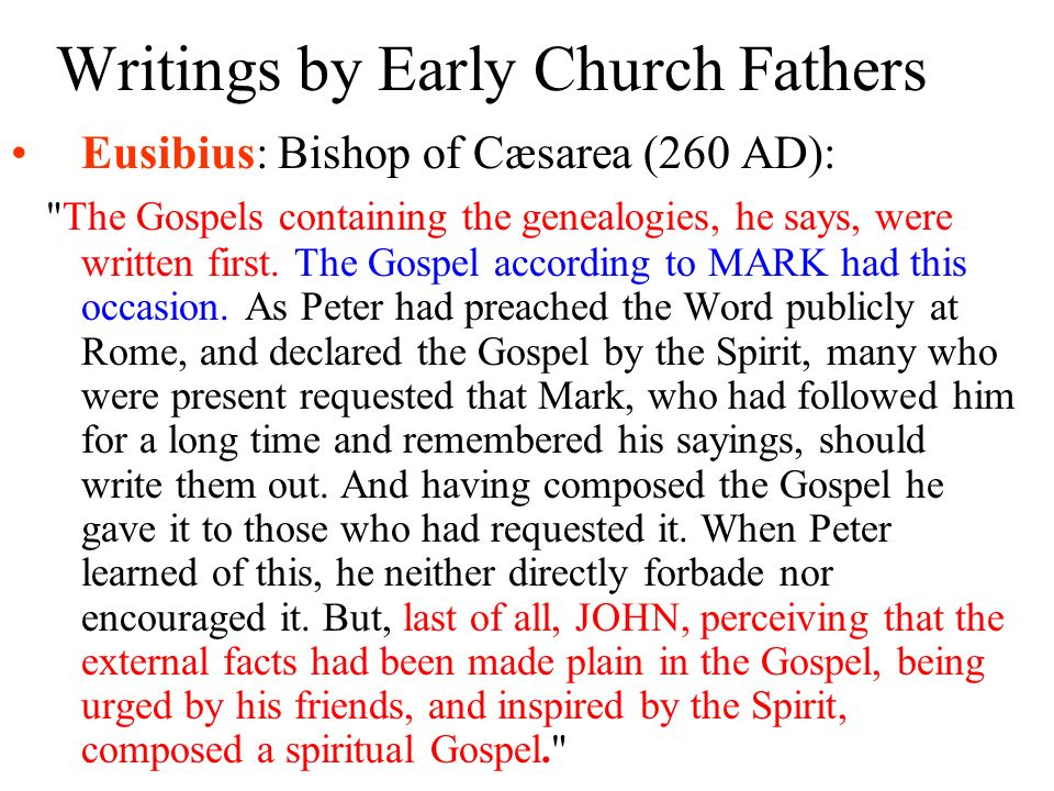 Writings by Early Church Fathers