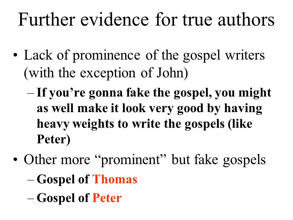 Further evidence for true authors