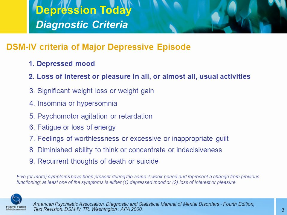 Depression Today Diagnostic Criteria