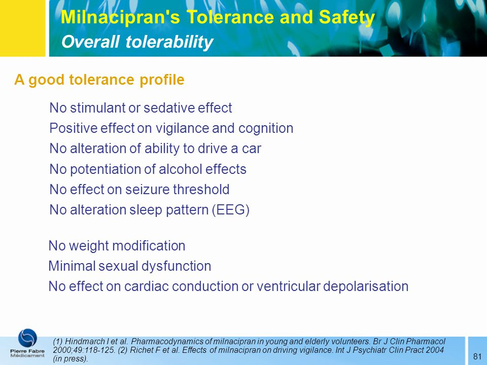 Milnacipran s Tolerance and Safety