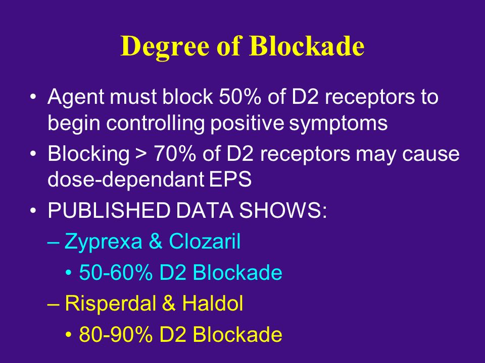 Degree of Blockade Agent must block 50% of D2 receptors to begin controlling positive symptoms.