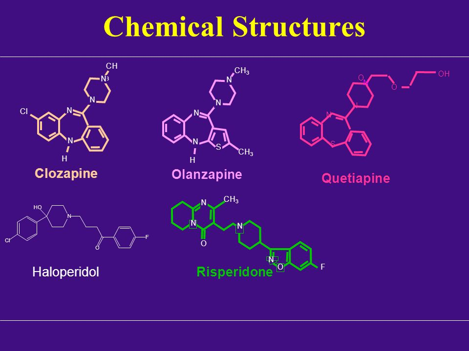Chemical Structures Clozapine Olanzapine Quetiapine Haloperidol
