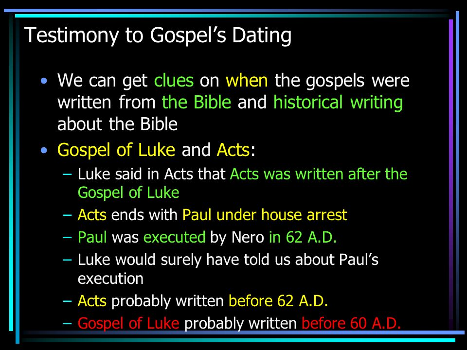Testimony to Gospel's Dating