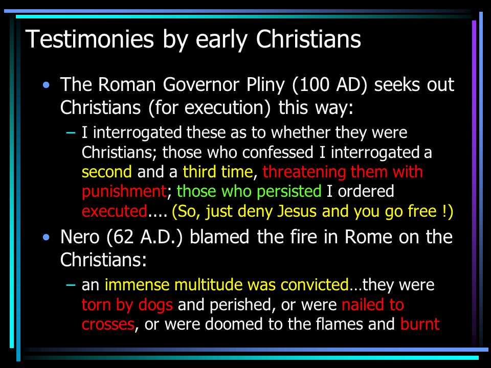 Testimonies by early Christians