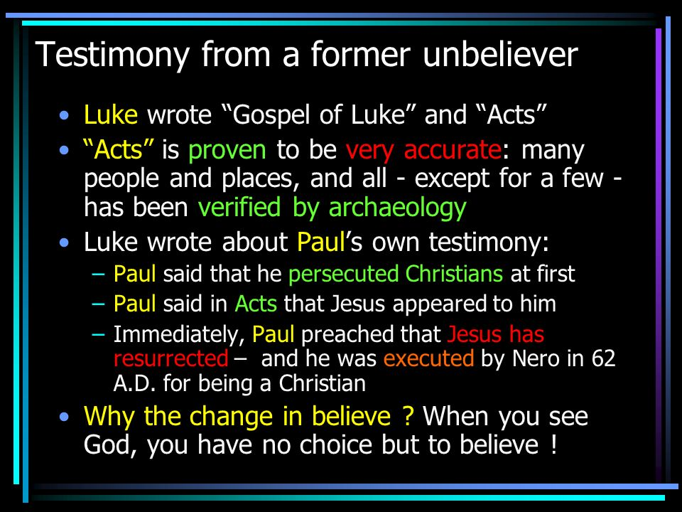 Testimony from a former unbeliever