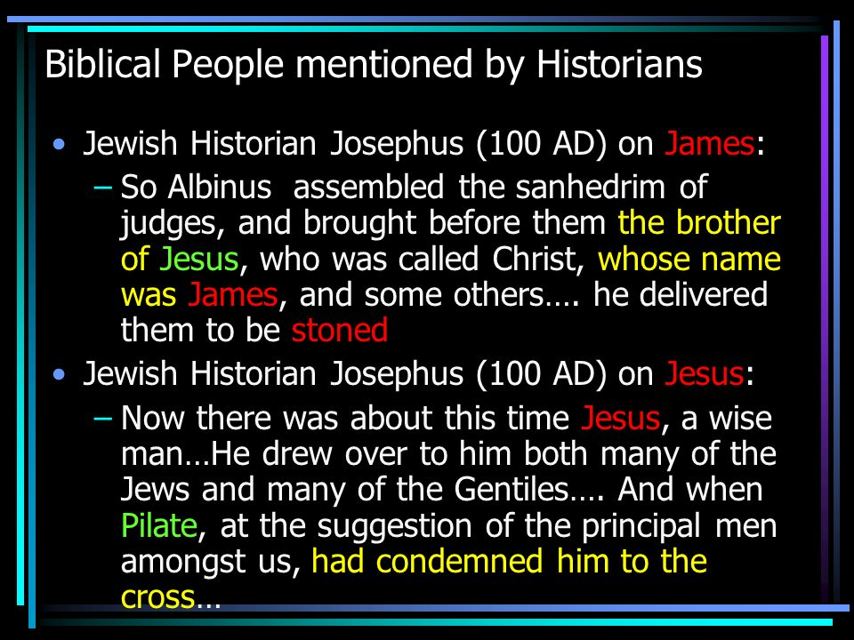Biblical People mentioned by Historians